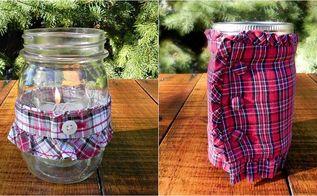 decorating mason jars with plaid shirts, crafts, mason jars, seasonal holiday decor, These mason jar crafts are so easy