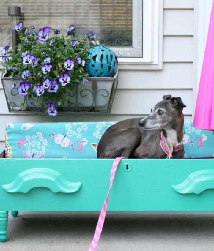 DIY dog bed - parasol down for sun or overcas