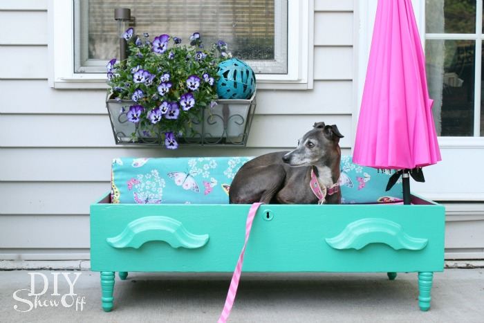DIY dog bed - parasol down for sun or overcas