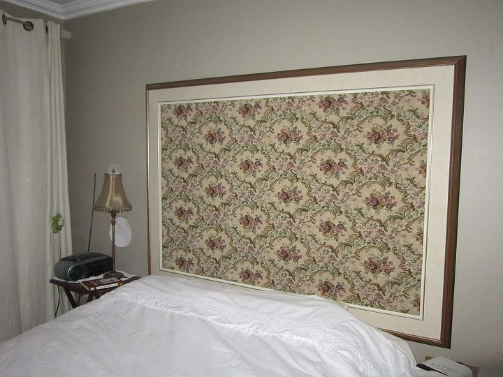 Vintage tapestry blanket framed with gallery frame and used as head boards in the master bedroom. There are 2 of these, the wall is very long and can handle these large frames. 4x6 feet.