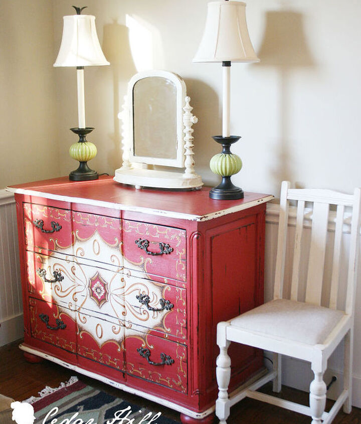 Hand-painted chest adds a pop of color