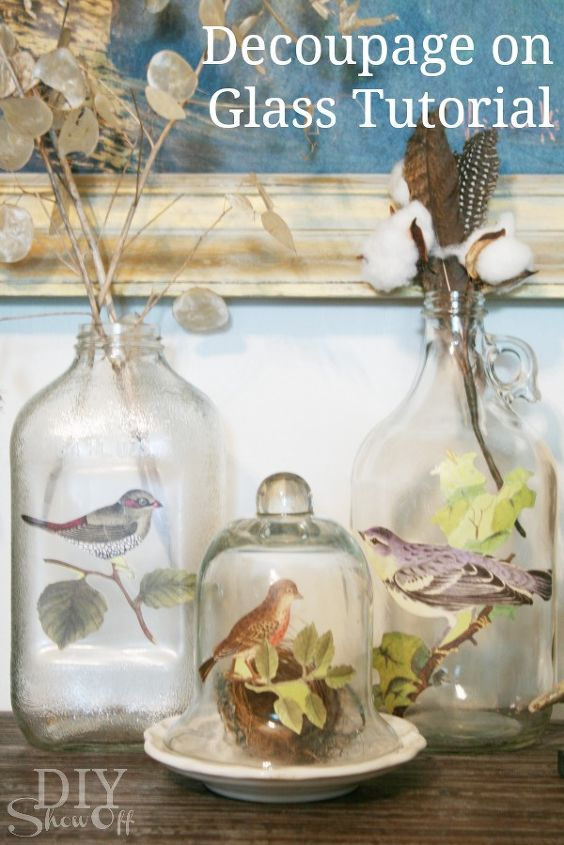 easy fall or anytime decorative accent, crafts, decoupage, seasonal holiday decor, Botanical birds decoupaged on glass