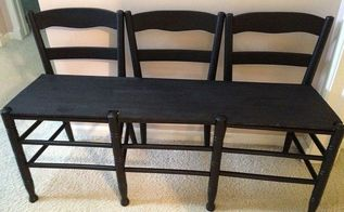 make a bench out of 3 chairs, painted furniture