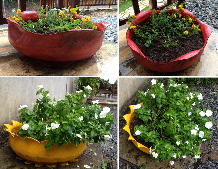 recycled tires, flowers, gardening, repurposing upcycling