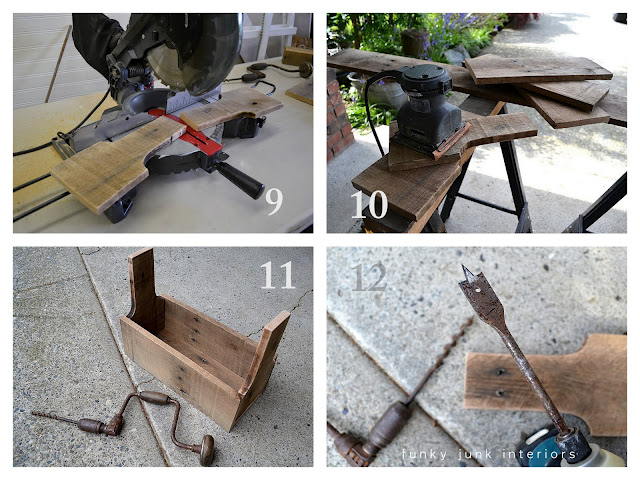 Wish to give it a try? Here's a sample of the how to on the blog at:http://www.funkyjunkinteriors.net/2011/05/junk-style-one-board-tool-box-build.html