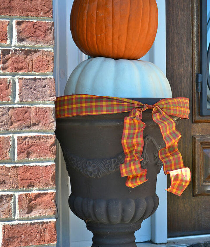 Stacking pumpkins is a great way to add interest to your front porch.