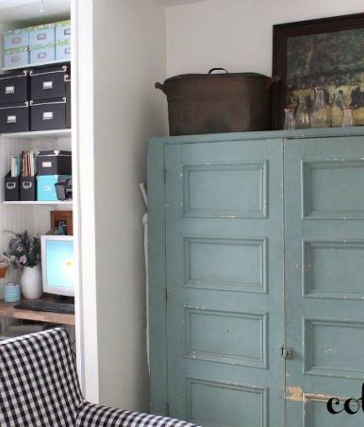 Vintage cabinet and computer nook.