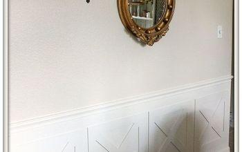 crossbuck barn door wainscoting, dining room ideas, wall decor, woodworking projects