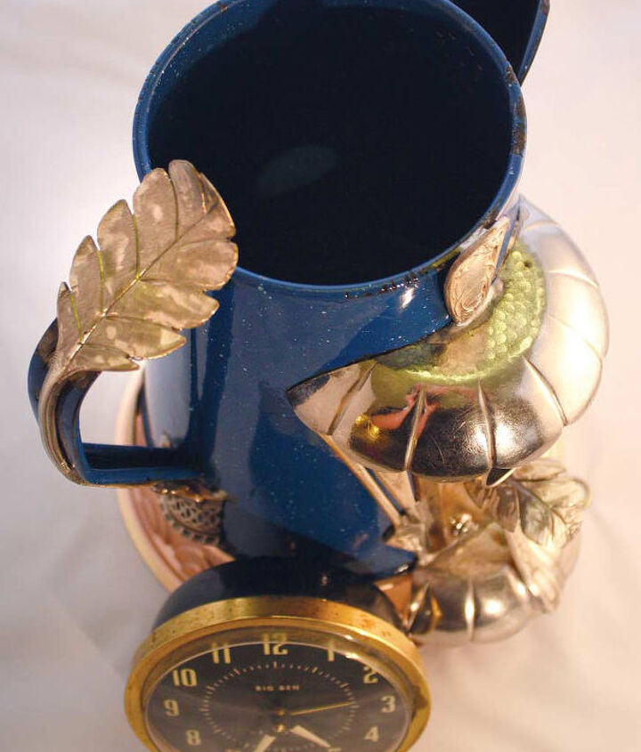 Repurposed / Upcycled Custom Metal Blue Coffee Pot Kettle Birdhouse by GadgetSponge.com
