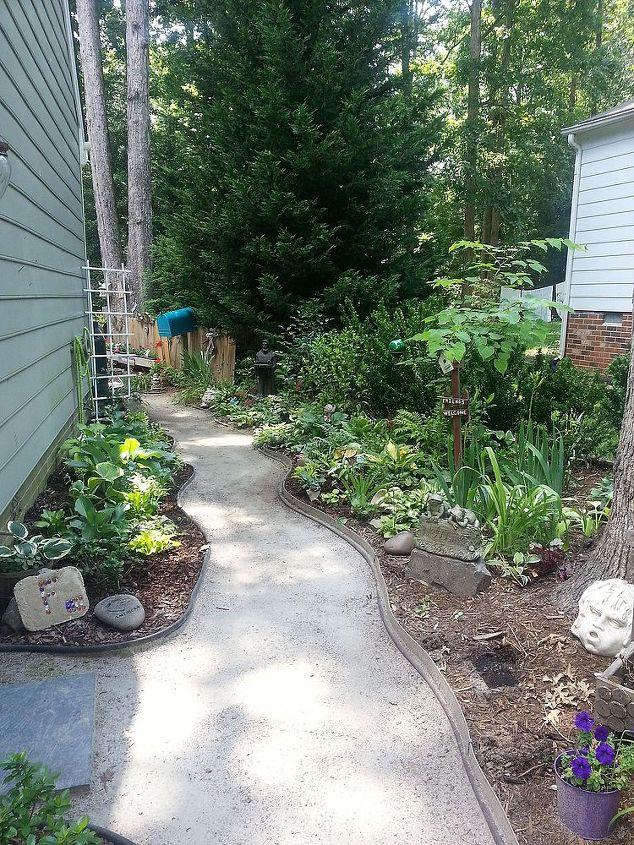 side yard beauty, gardening, landscape, Garage side entrance 5 years ago barren and sterile dirt