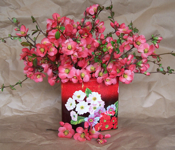 Quince in a red floral tin.