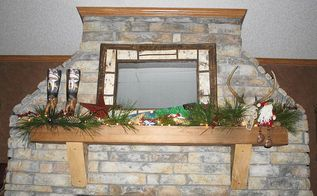 diy rustic christmas mantel, christmas decorations, seasonal holiday decor