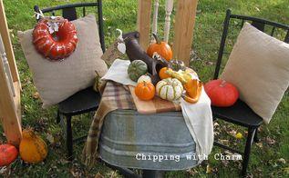 a junky fall vignette lots of re purposing fun, outdoor living, repurposing upcycling, seasonal holiday decor