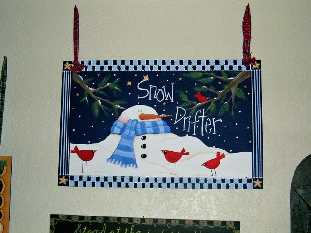 Snow Drifter by GranArt. This is painted on a wood draw insert using acrylic paint then sprayed with acrylic to seal.