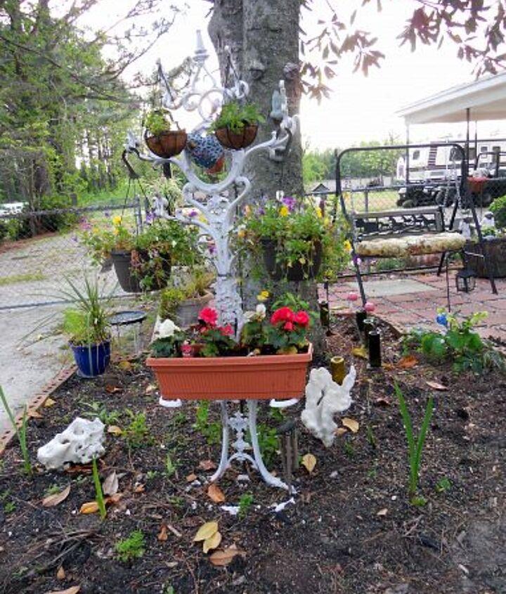 repurposed victorian hall tree for hanging flower baskets, flowers, gardening