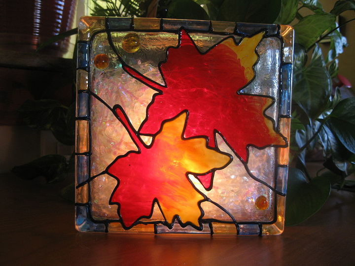 lighted fall decoration from a glass block, crafts, seasonal holiday decor, Glass block decoration