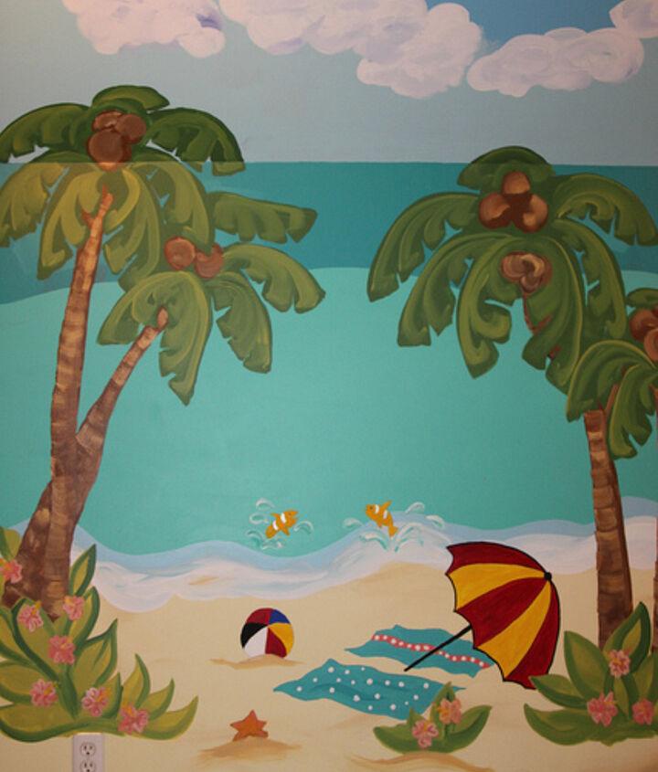 Coconut palm trees and a beach umbrella