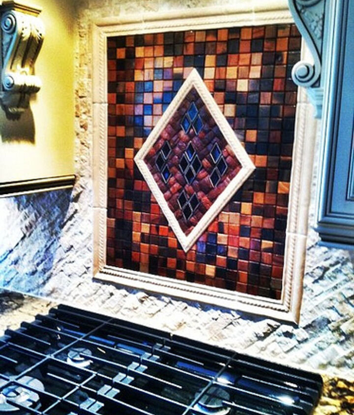 Backsplash made of specialty wood and glass pieces.
