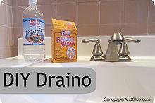 diy draino, cleaning tips, home maintenance repairs, how to, baking soda white vinegar boiling water