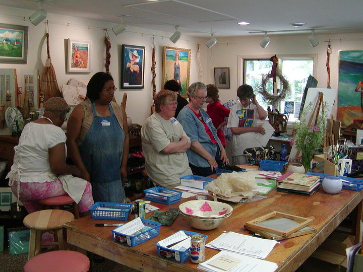 An inside view/teaching a group of ladies who wanted to make handmade paper.