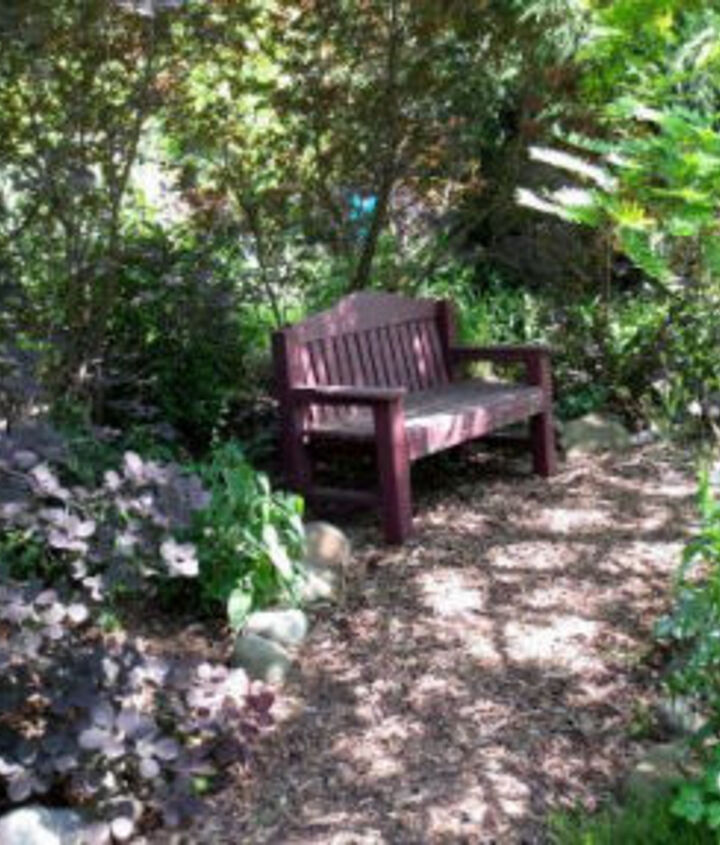 Garden Bench on a Shady pathway - http://www.empressofdirt.net/outdoor_seating_areas/