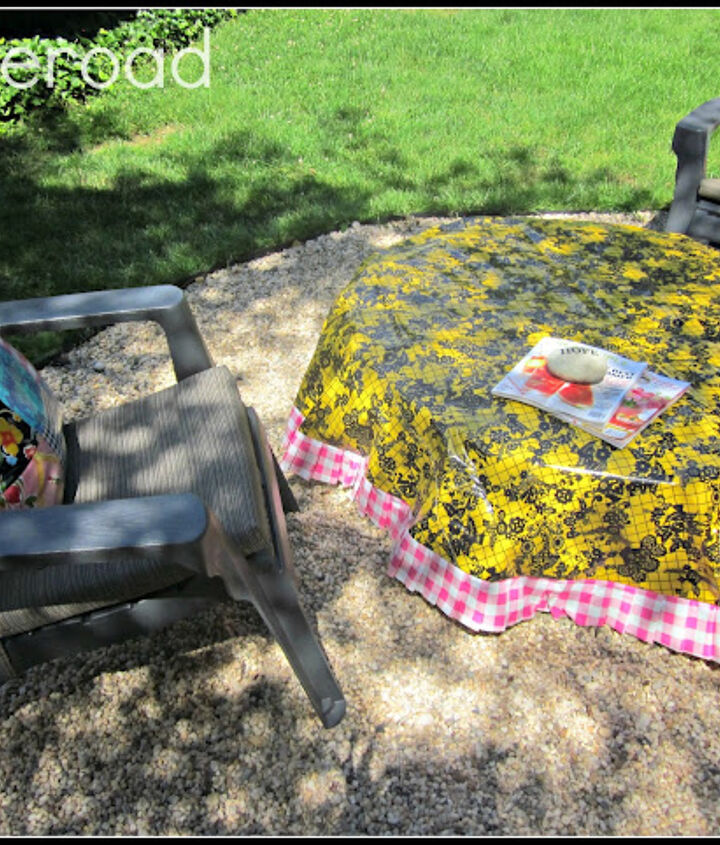 Oil cloth table cloth keeps the fire pit and the plywood dry.