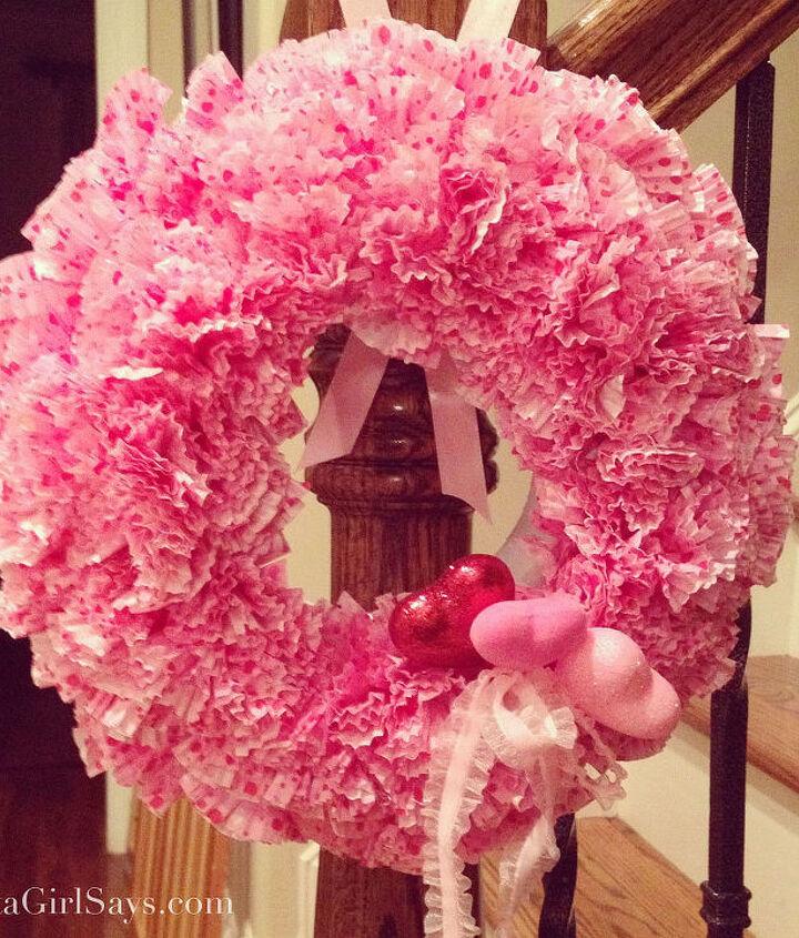 Valentine's cupcake liner wreath