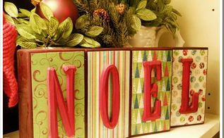 wooden blocks christmas decor, crafts, seasonal holiday decor, an extra 2 x 4 and some Christmas paper