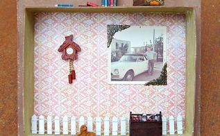 mixed media shadow box decor, crafts