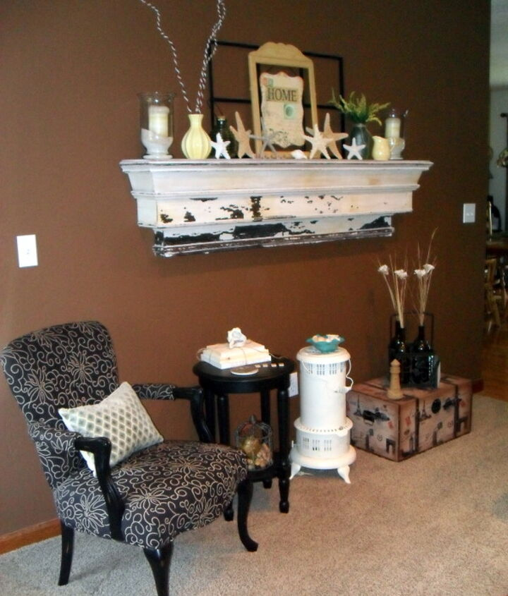 My Pottery Barn mantle...worth every penny, even shipping! I love to decorate this for the seasons!