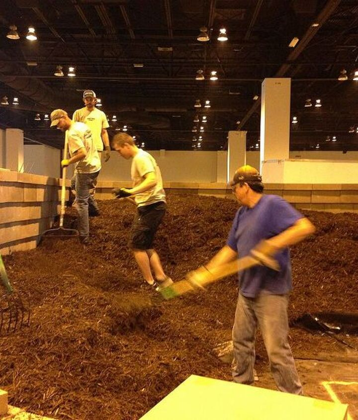 Moving the mulch around to start the water feature at Colorado Convention Center