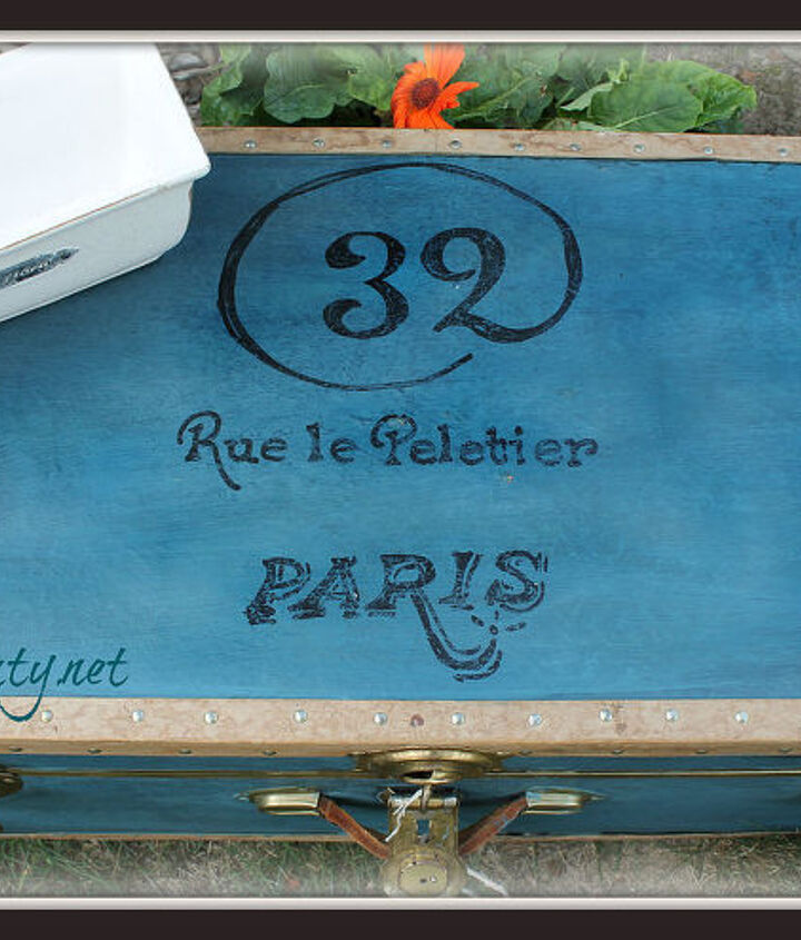 plain old footlocker turned french vintage travel trunk, garages, home decor, painting