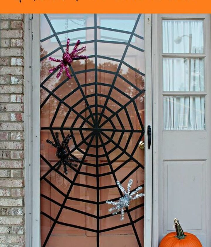 washi tape spiderweb front door, doors, halloween decorations, seasonal holiday decor
