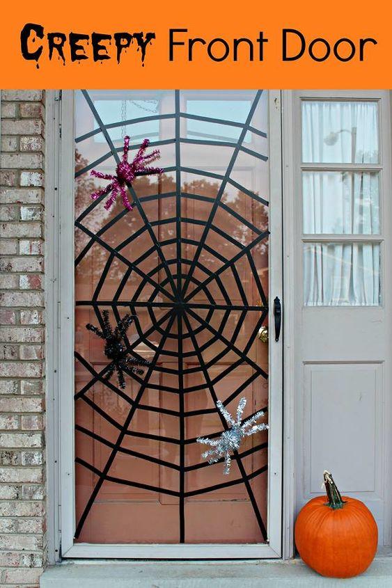 washi tape spiderweb front door, doors, halloween decorations, seasonal holiday decor