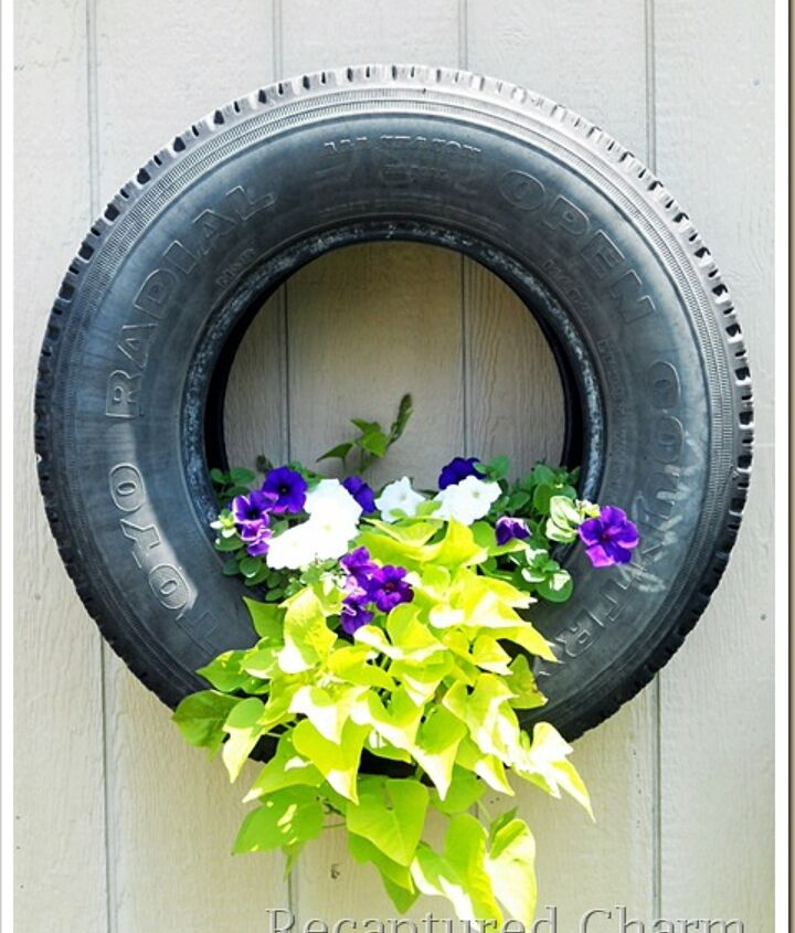 Flowers seems to grow beautifully in these tires