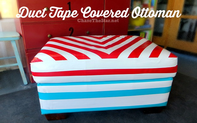 duct tape covered ottoman, painted furniture