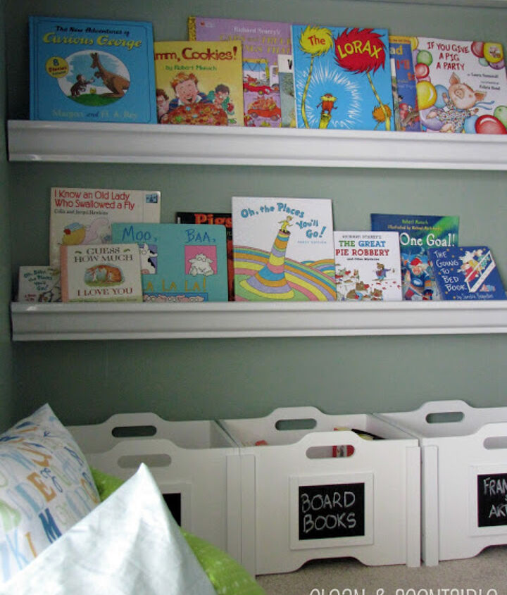 The bookshelves make it so much easier for the kids to see their books and clean up afterwards.  The bottom bins provide quick and easy storage for extra books and can be rotated through the shelves.