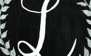 diy monogrammed chalk art, chalkboard paint, painted furniture