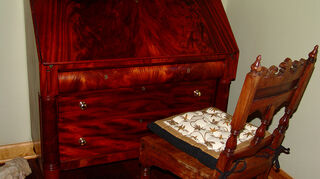 drop down dresser, painted furniture, 1860 era secretary antique restoration