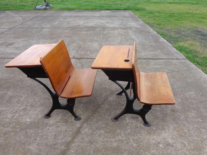 q old school desks, painted furniture, two old desks