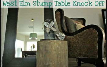 tree stump into west elm inspired side table, home decor, painted furniture, repurposing upcycling