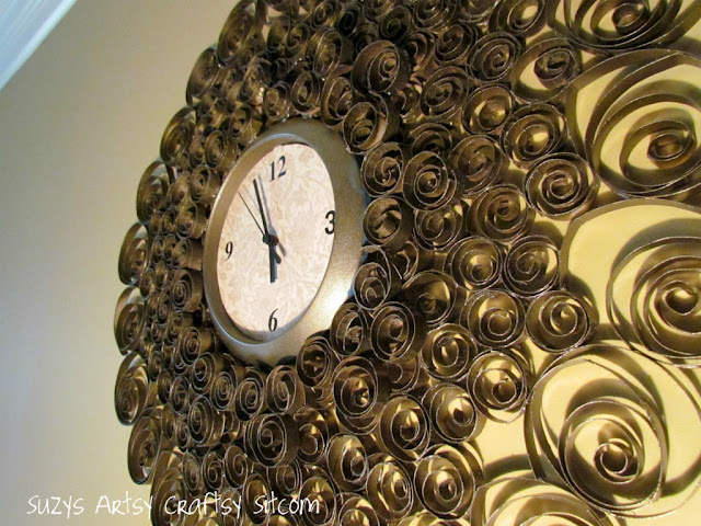 faux brass wall clock, crafts, repurposing upcycling, Faux brass wall clock made with toilet paper tubes recycle diy