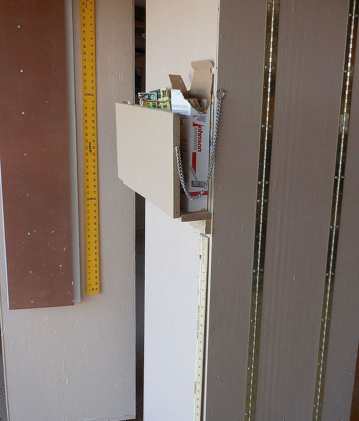 i finally got tired of having all my tools scattered all over my garage and decided, diy, how to, shelving ideas, storage ideas, This is a side and back view of 3 section cabinet Piano hinges attach the sections I use sides for hanging T square and cutting guides and hinged shelf holds sandpaper when folded up and latched