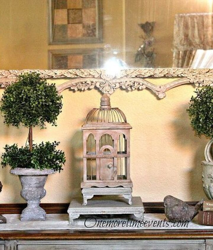 Adding boxwood topiaries to antique buffet vignette
