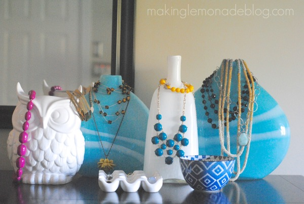 unique jewelry organization and decor idea, home decor, organizing, Typically I group the vases and bowls in threes on each end of my dresser but today they wanted to say hello all together