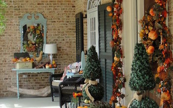 southern fall porch, porches, seasonal holiday decor, Deep southern front porch decorated for fall
