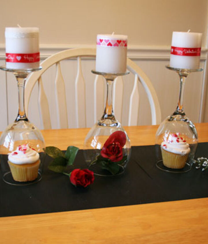 Put candles on top, wrapped in ribbon and glitter tape.