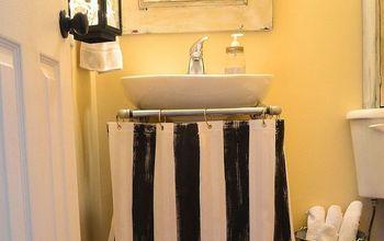Make a Pedestal Sink Skirt From a Shower Curtain