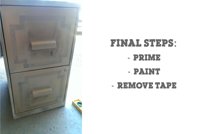 Step 4:  paint over the tape with your gold.  This will ensure the tape is secured and prevents any leaking. Step 5:  Paint your final color once dry remove your tape!