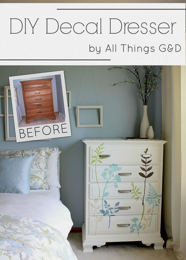 diy decal dresser, painted furniture